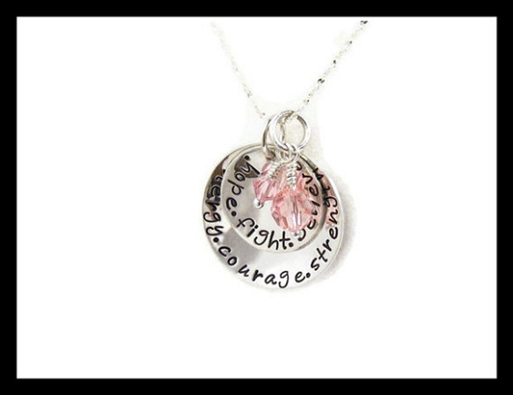Breast Cancer Awareness- Words of Inspiration Necklace