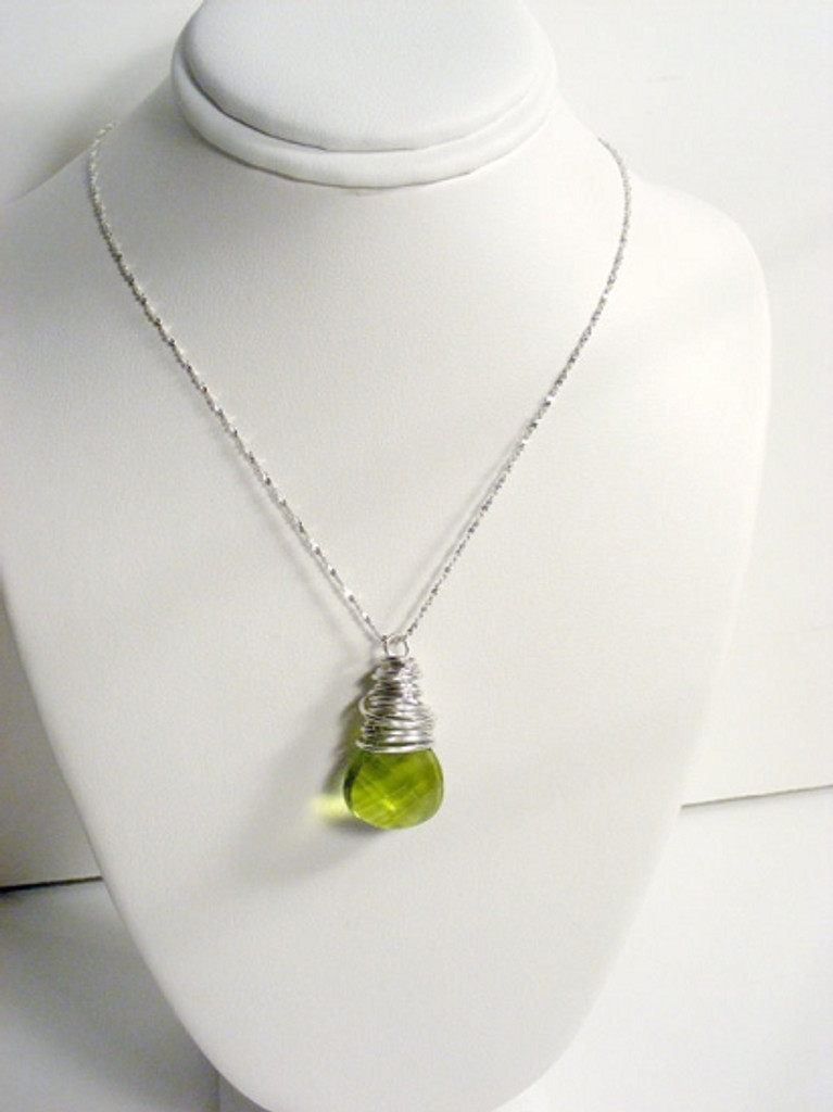 Olive Green Briolette Necklace