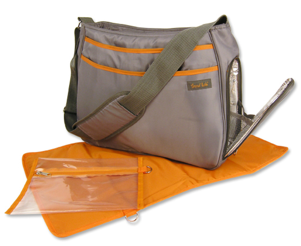 Gray and Orange Ultimate Diaper Bag