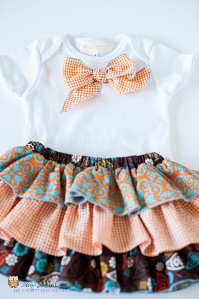 Fall Dress and Bow Tie Shirt Set for Triplets