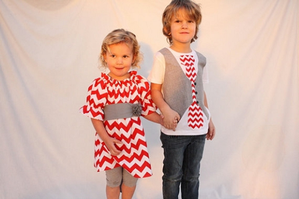 Matching Dress and Shirt for Twins: Chevron Red and Gray