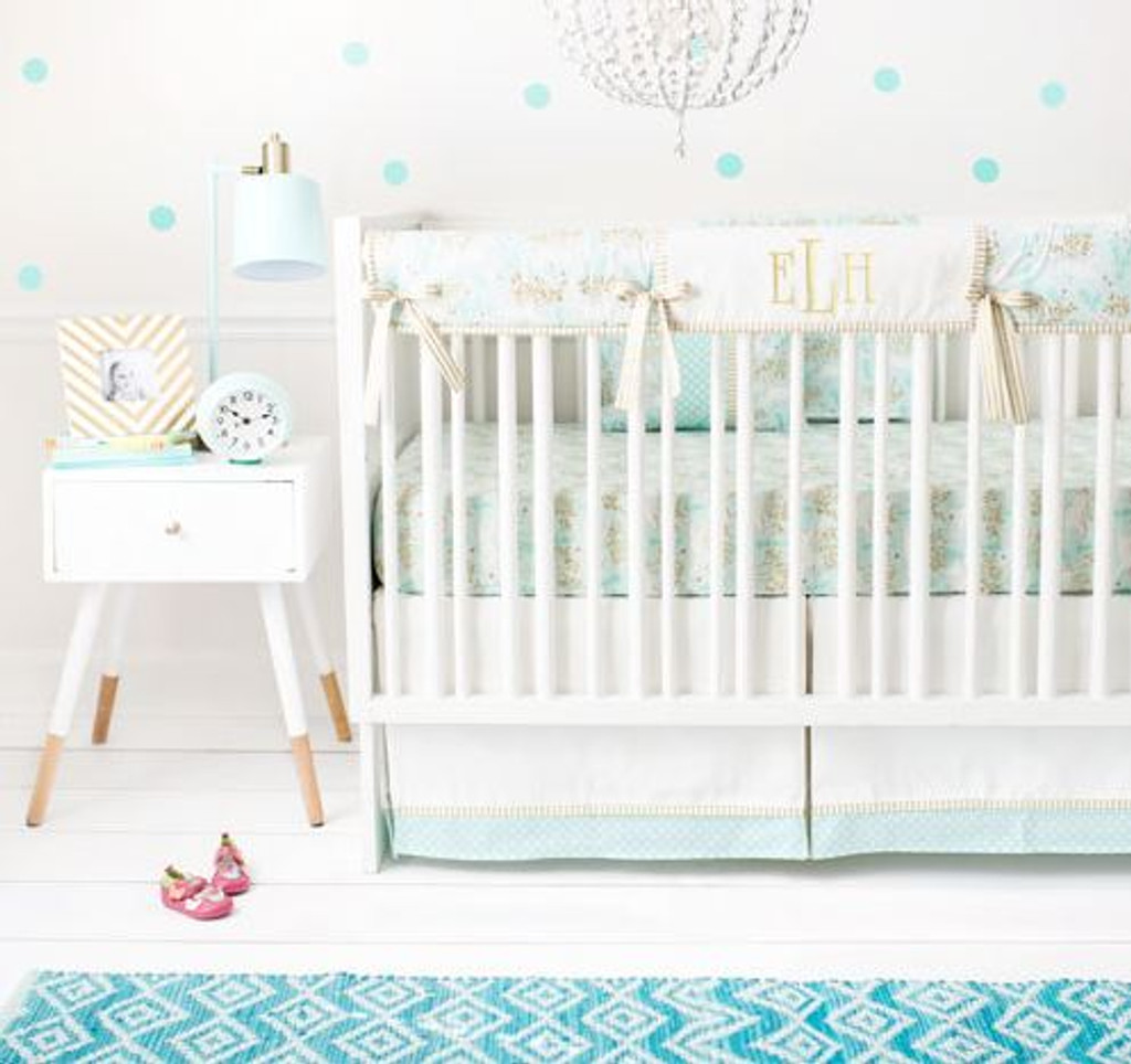 Mint and Gold Crib Rail Cover Set | Unicorn in Mint Collection