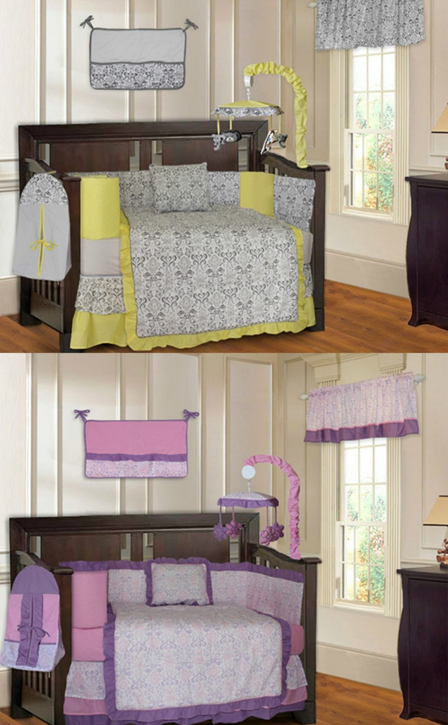 Yellow and Purple Damask 20 Piece Nursery Set