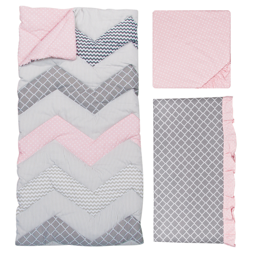 Matching Pink and Blue Chevron Nursery Bedding Sets for Twins
