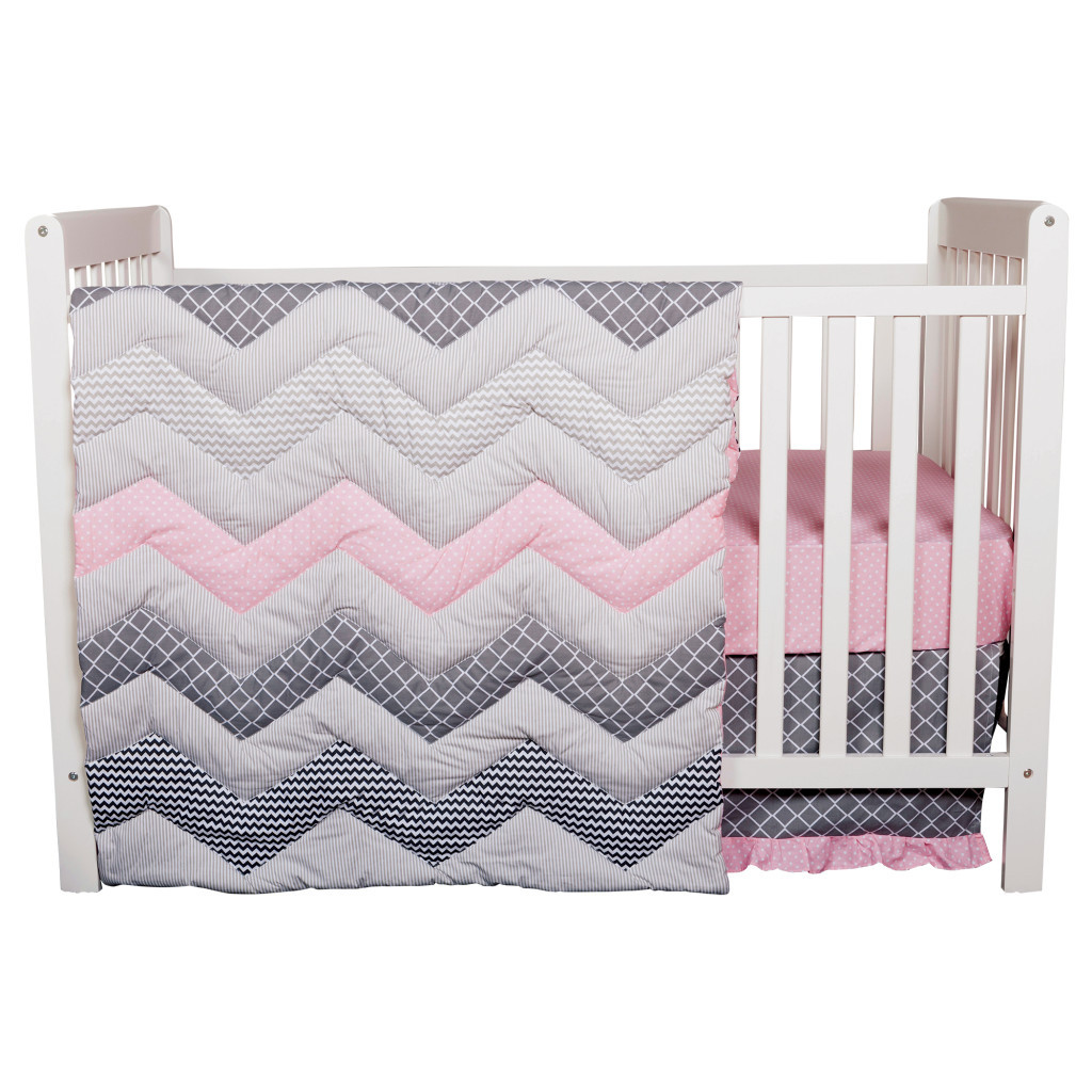 Pink and Blue Chevron Matching Baby Bedding Set for Twins