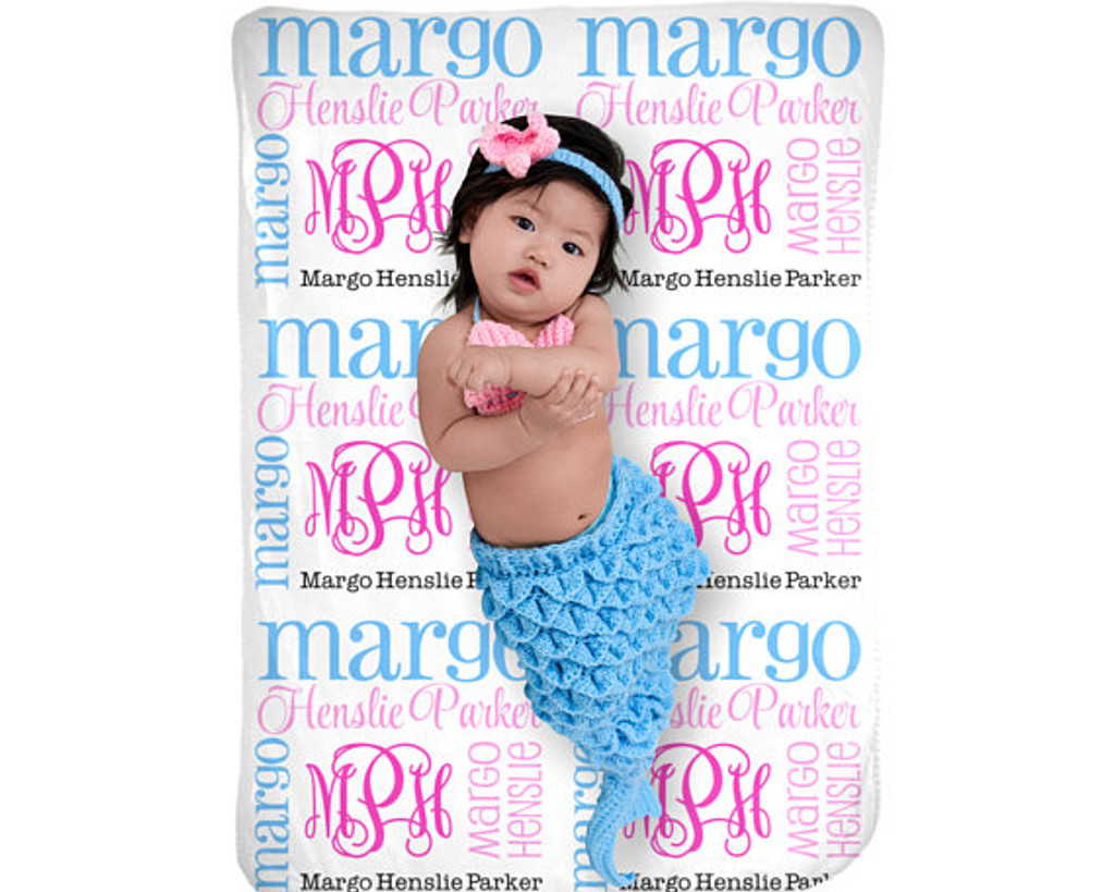 Pink and Blue Monogrammed Baby Blanket