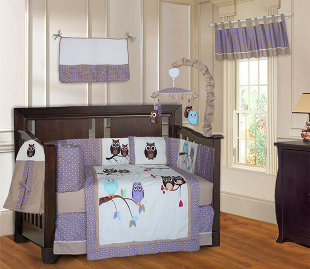 Purple and Turquoise Owl  20 Piece Crib Bedding Set