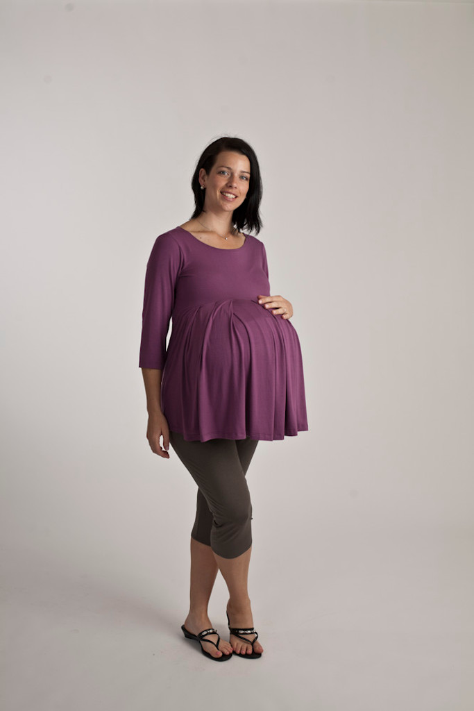 Maternity Pleated Top-  Three Quarter Length Sleeve
