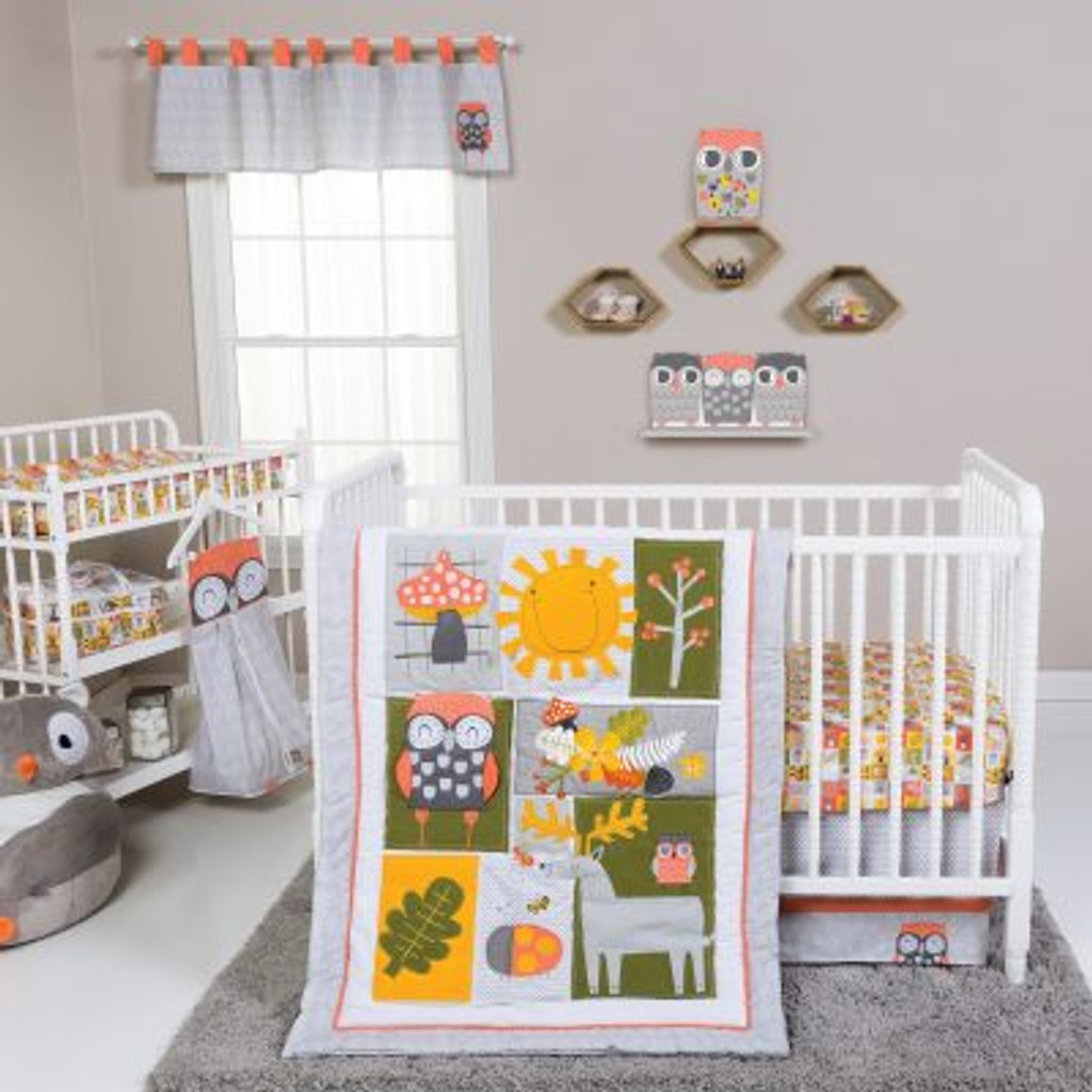 Olive Owl 5 Piece Crib Bedding Set