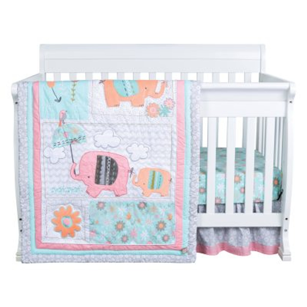 Playful Elephants 3 Piece Crib Bedding Set