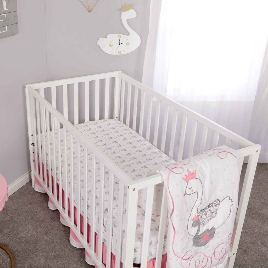 Swans 3 Piece Crib Bedding Set