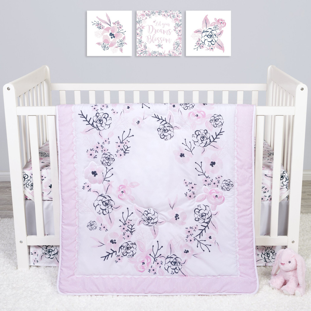 Sammy and Lou Simply Floral 4 Piece Crib Bedding Set