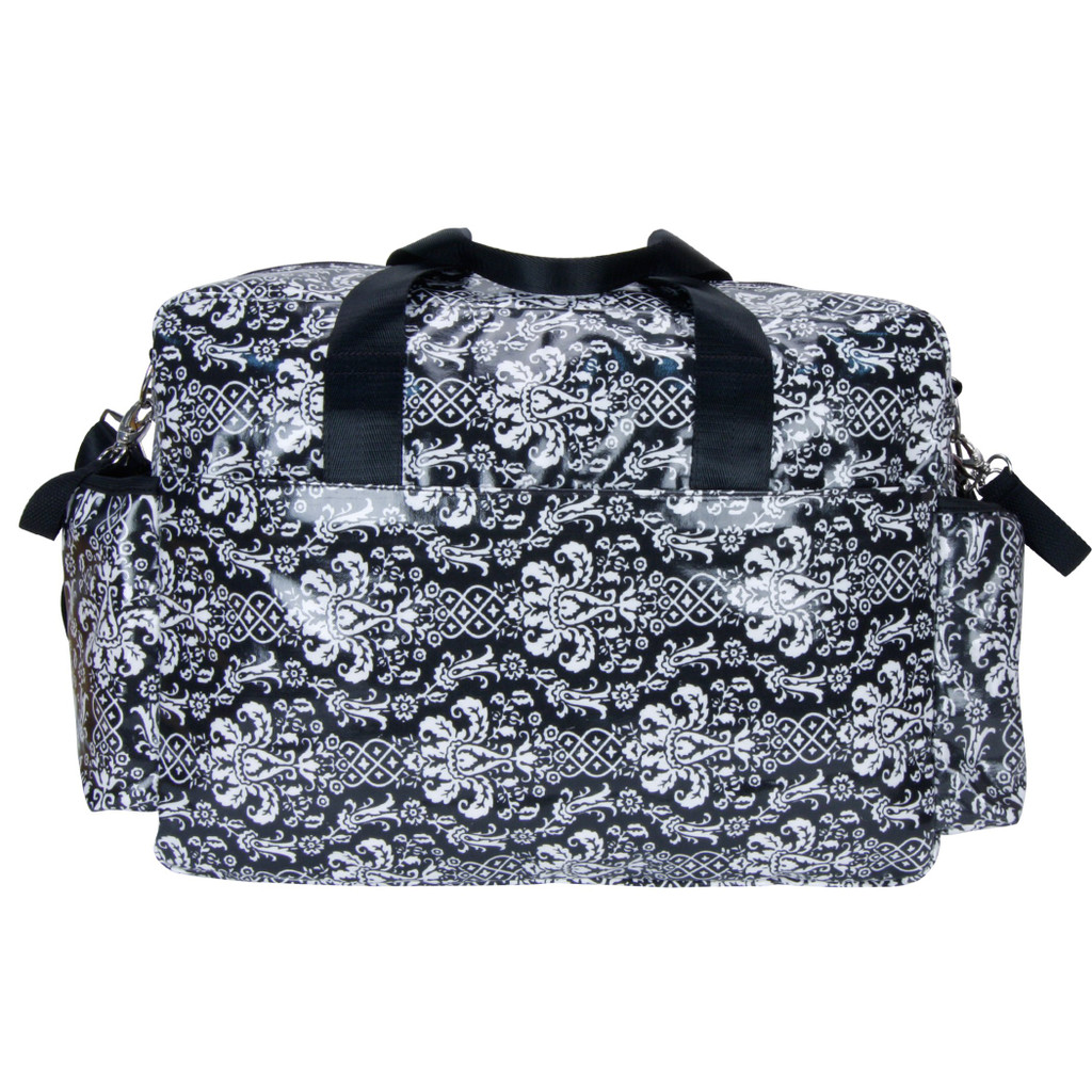 Midnight Fleur Damask Deluxe Duffle Style Diaper Bag