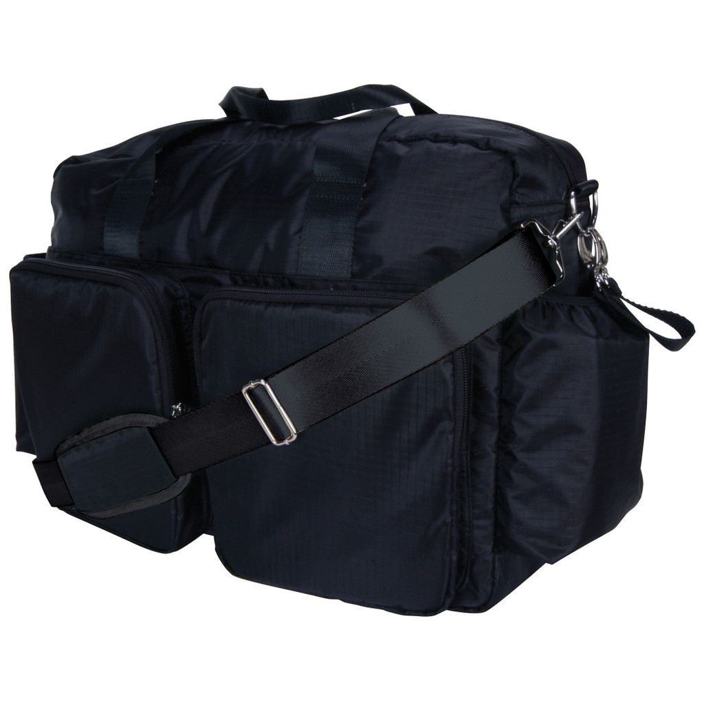 Black and Avocado Green Deluxe Duffle Style Diaper Bag