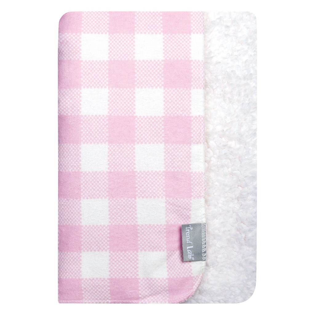 Pink and White Buffalo Check Flannel and Faux Shearling Baby Blanket