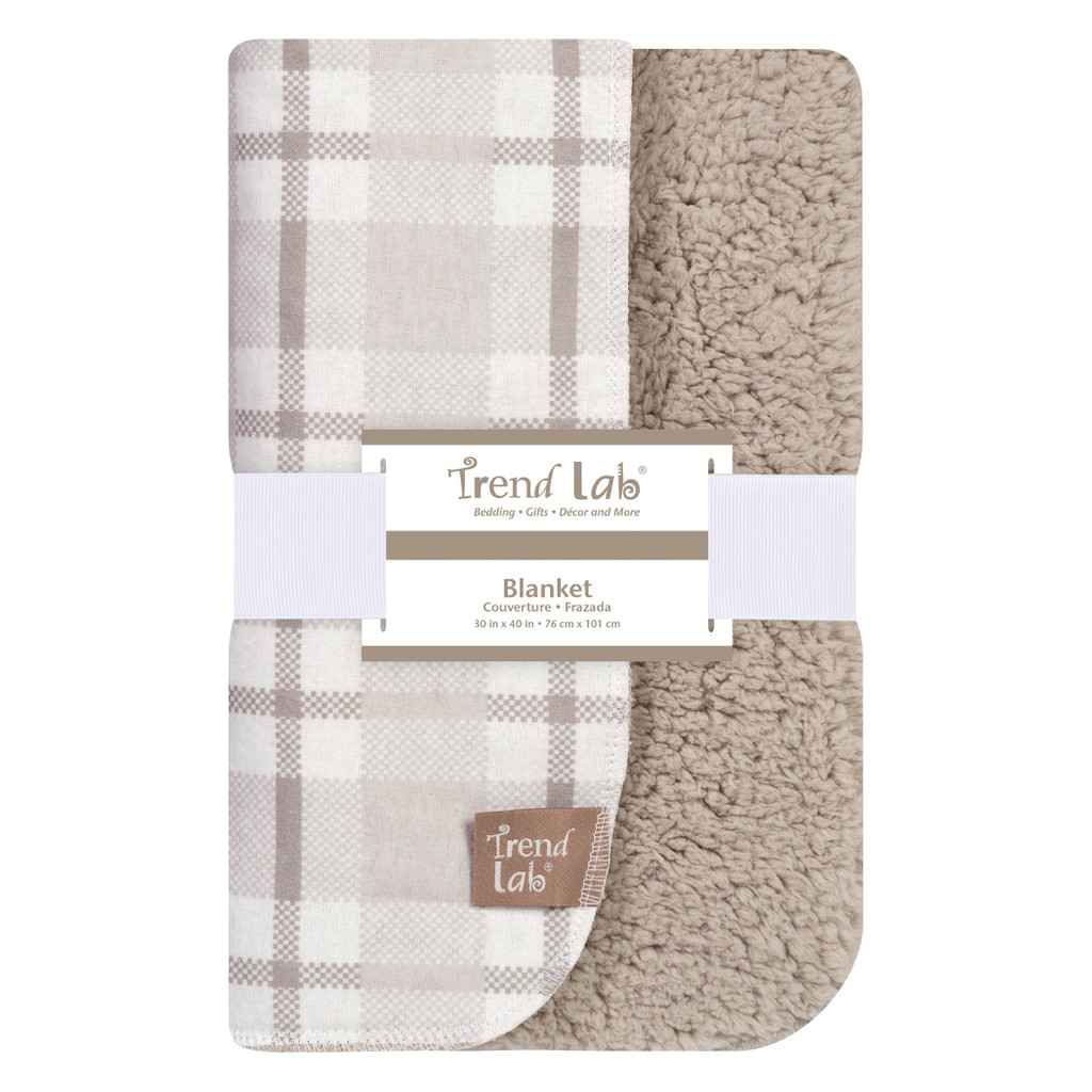 Gray and White Plaid Flannel and Faux Shearling Blanket