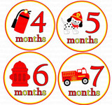 Baby Monthly Photo Stickers: Fireman Design