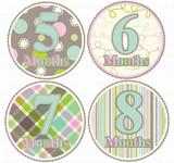 Baby Monthly Photo Stickers: Preppy Girl