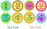Baby Monthly Photo Stickers: Boy/Girl Twin Neon Dot Set