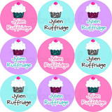 Waterproof Name Labels: Zebra Print Cupcakes