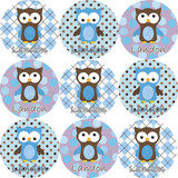 Waterproof Name Labels: Polka Dot Boy Owl Design