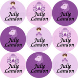 Waterproof Name Labels: Purple Princess