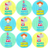 Waterproof Name Labels: Circus
