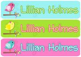 Rectangular Waterproof Name Labels: Lovebird Collection