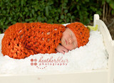 Newborn Chunky Pumpkin Hats And Cocoon (Set of 2)