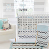 Chevron Baby in Aqua Crib Bedding