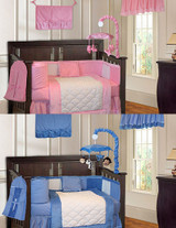 Twins Pink and Blue Minky 20 Piece Crib Bedding Set