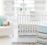 Aqua and Gray Chevron Baby Bedding | Chevron Baby in Aqua Crib Collection