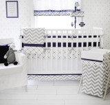Gray & Navy Baby Bedding | Out of the Blue Crib Bedding