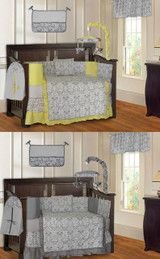 Yellow and Gray Damask 20 Piece Nursery Set