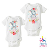 Personalized Twin Girls Elephant Shirt Set