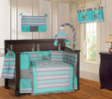 Turquoise and Pink Elephant  20 Piece Crib Bedding Set