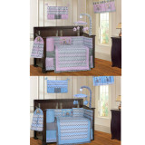 Blue and Pink Elephant  20 Piece Crib Bedding Set