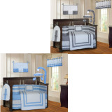 Blue and Gray Modern 20 Piece Crib Bedding Set