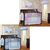 Blue and Pink Modern 20 Piece Crib Bedding Set
