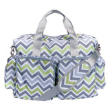 Green, Gray, and White Chevron Deluxe Duffle Diaper Bag