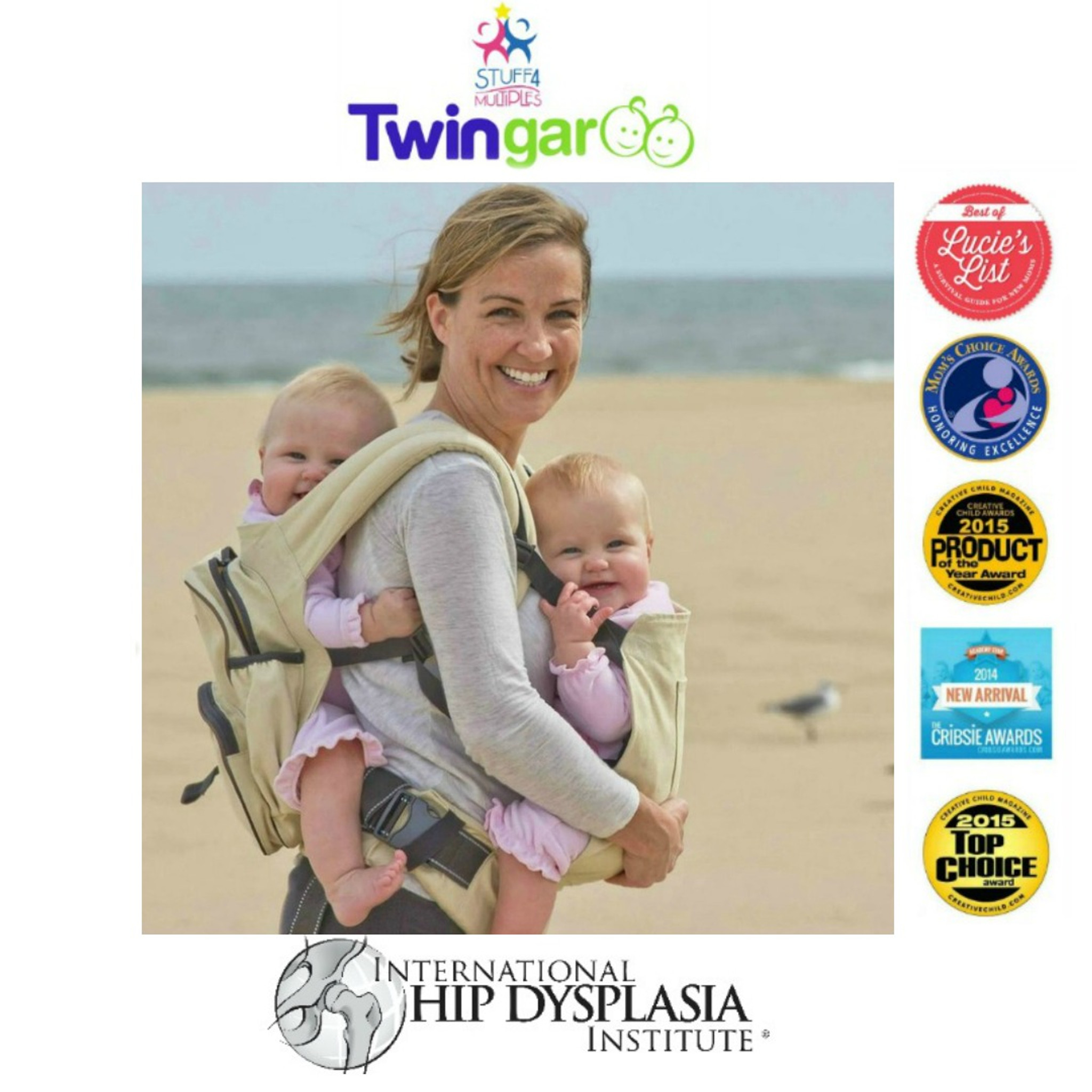 f02fab142ec Twingaroo Twin Baby Carrier and Diaper Bag- Khaki · The Most Awarded Tandem  Carrier in the WORLD!
