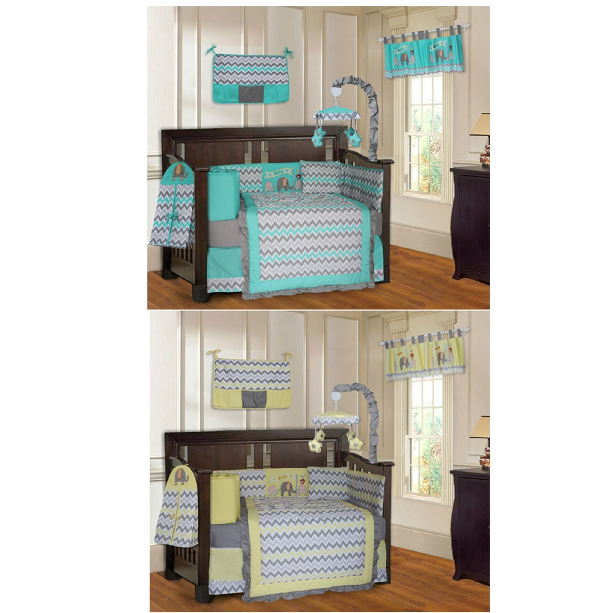 Twin Nursery Bedding Sets Turquoise And Yellow Elephant