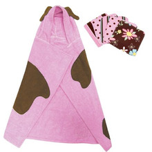 Pink Puppy Character Hooded Towel and 5 Piece Wash Cloth Set