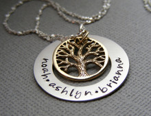 Mother's Personalized Family Tree Necklace in Bronze