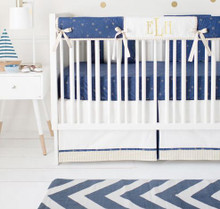 Navy and Gold Boy Crib Rail Cover Set | Lucky Stars in Navy Collection