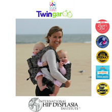 NEW!! Twingaroo Twin Baby Carrier and Diaper Bag- Gray Floral