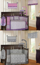 Purple and Gray Damask 20 Piece Nursery Set