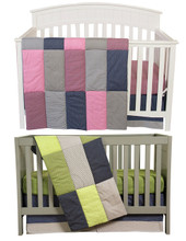 Pink and Green Matching Baby Bedding Set for Twins