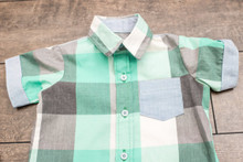 Mint Green and Gray Dress and Shirt Set for Twins