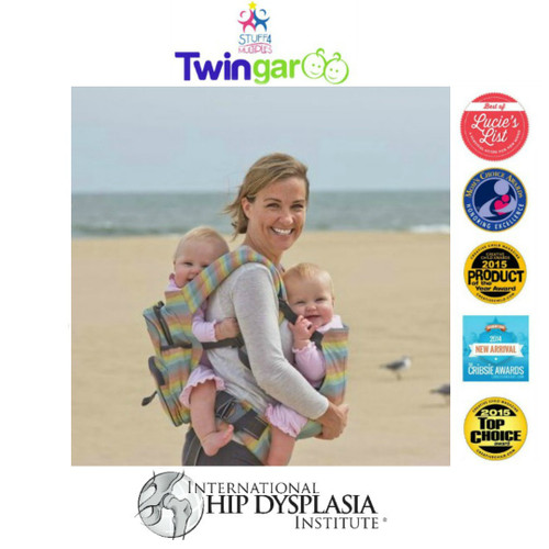 Twingaroo Twin Baby Carrier and Diaper Bag- Rainbow